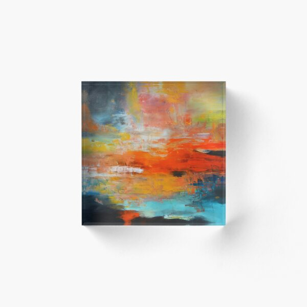Red abstract sunset landscape painting Acrylic Block
