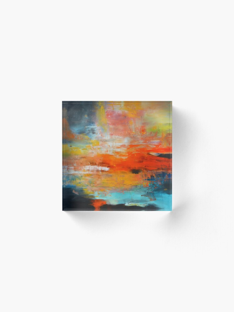 Alternate view of Red abstract sunset landscape painting Acrylic Block