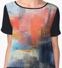 Blue Red Abstract  Chiffon Top