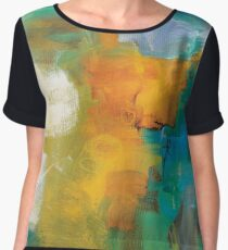 Abstract Orange Blue Print from Original Painting  Chiffon Top