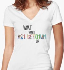 What would Ash Ketchum do? Women's Fitted V-Neck T-Shirt