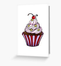 Pink Cherry Cupcake  Greeting Card