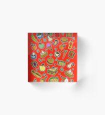 Cartoon Food Red Acrylic Block