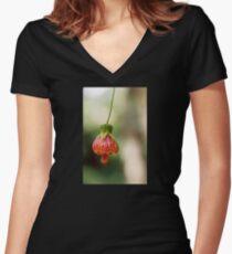 Flower bell Women's Fitted V-Neck T-Shirt