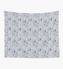 Birds and eyes steel blue Wall Tapestry