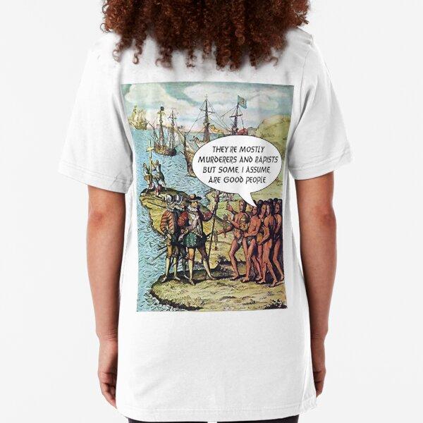 Columbus Arrives in the Americas - Anti Trump Slim Fit T-Shirt