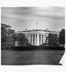 Black and white The White House Poster