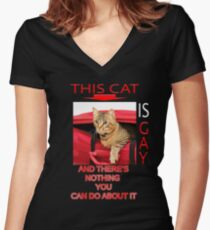 This Cat Is Gay Women's Fitted V-Neck T-Shirt
