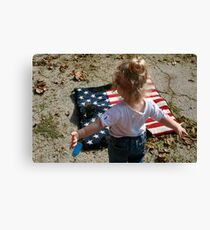 girl and saddle blanket Canvas Print