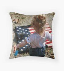 girl and saddle blanket Throw Pillow