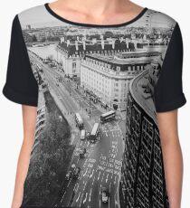 Black and White London City Women's Chiffon Top