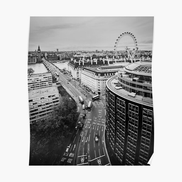Black and White London City Poster