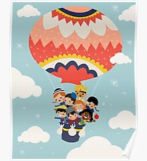 It's Our Small Little World Hot Air Balloon Kids Poster