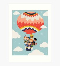 It's Our Small Little World Hot Air Balloon Kids Art Print