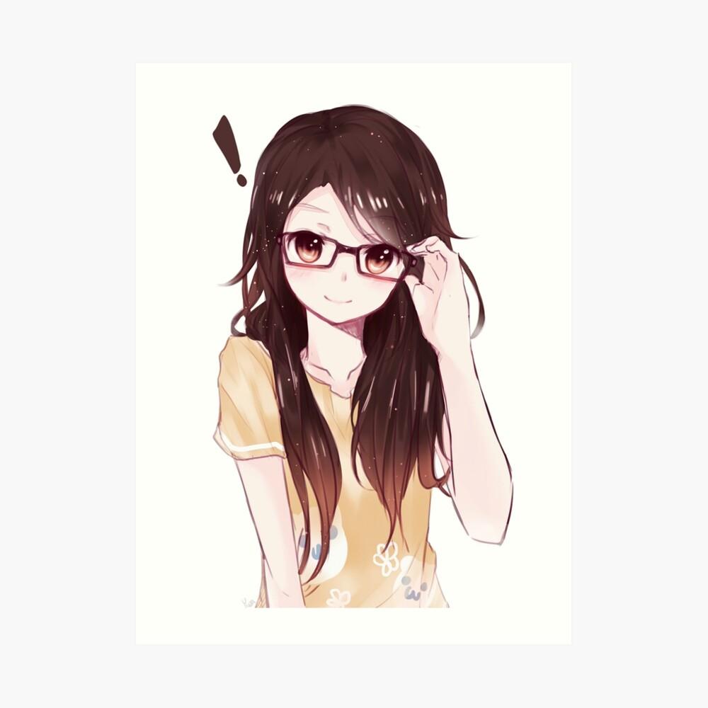 Cute anime girl art print