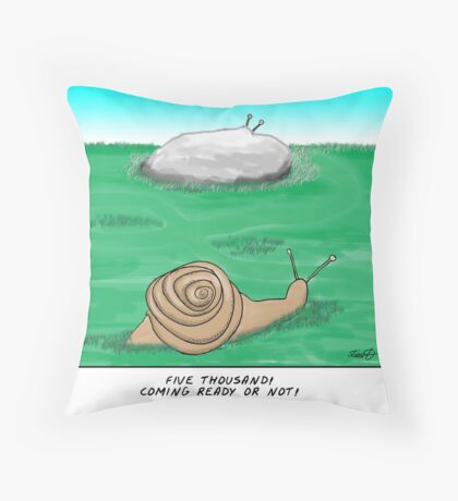 snail hide and seek  Throw Pillow