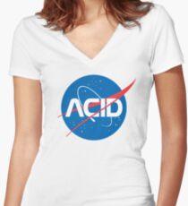 Camiseta entallada de cuello en V Ácido vs Nasa