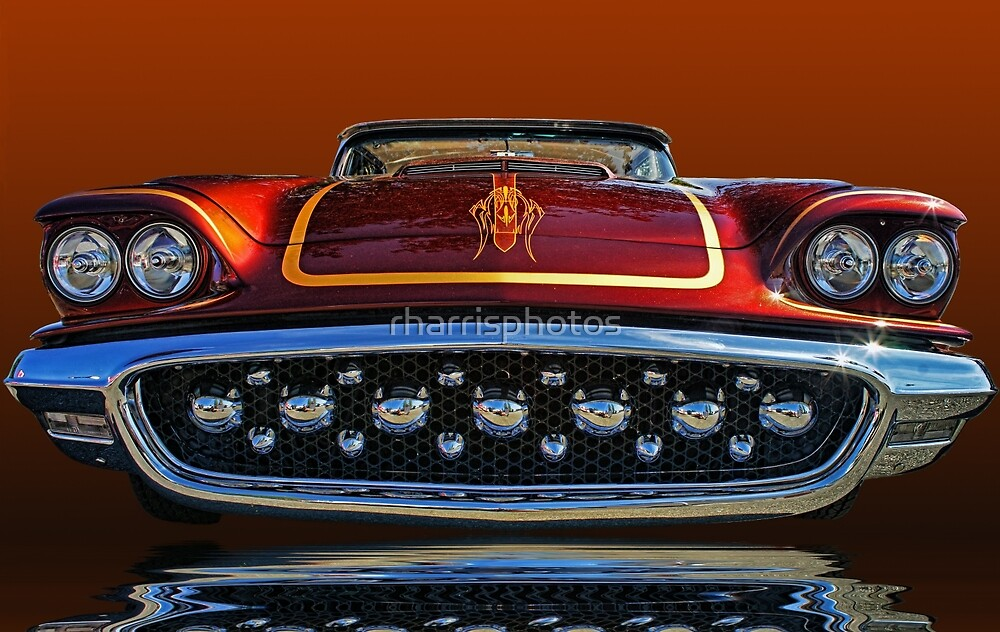 1958 Ford Thunderbird front view abstract by rharrisphotos