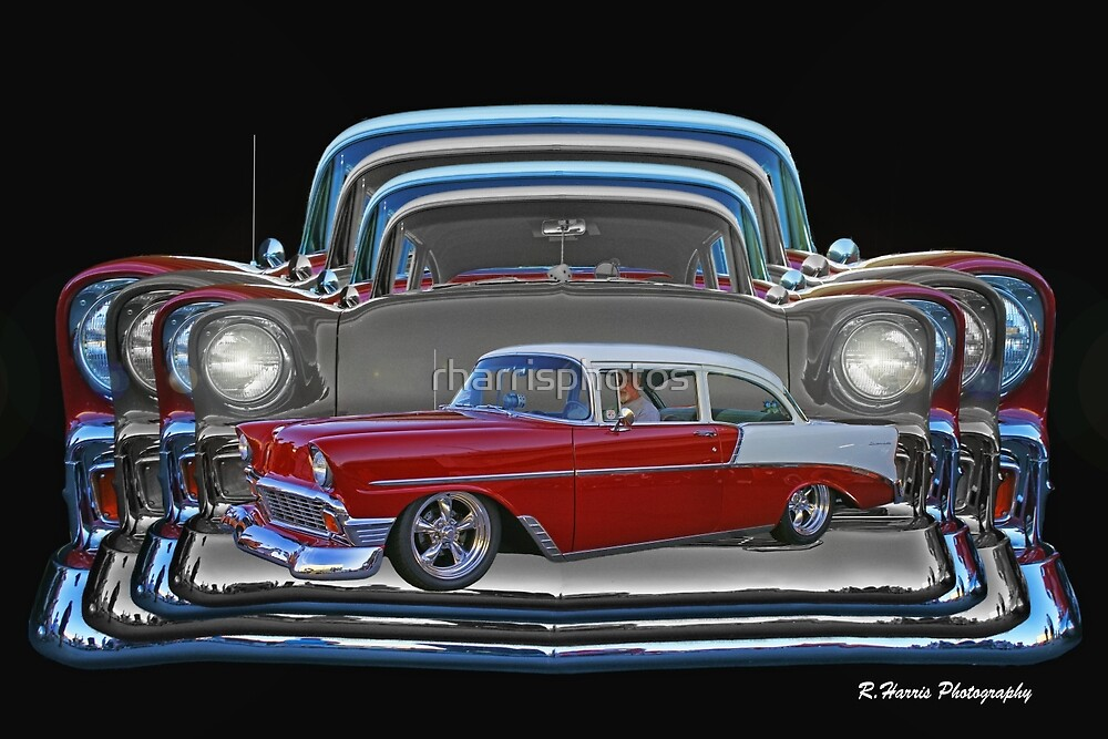 Multiple Red and White Chevy Belair Abstract by rharrisphotos