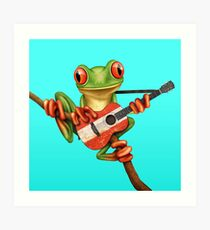 Tree Frog Playing Austrian Guitar Kunstdruck