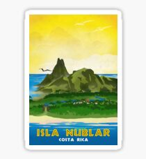 Isla Nublar - Retro Jurassic Park Travel Poster Sticker
