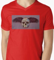 Raven Skull Mens V-Neck T-Shirt