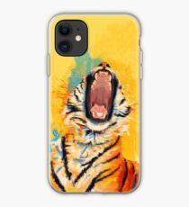 Wild Yawn - Tiger portrait, colorful tiger, animal illustration iPhone Case