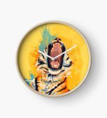 Reloj Wild Yawn - Tiger portrait, colorful tiger, animal illustration