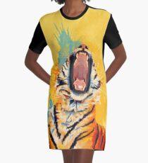Wild Yawn - Tiger portrait, colorful tiger, animal illustration Graphic T-Shirt Dress