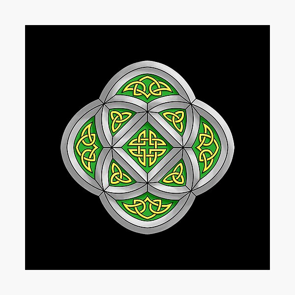 Celtic Knotwork Stone Cathedral Window on Black Photographic Print