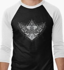 Heart Shield Triforce Silver 2/3 Men's Baseball ¾ T-Shirt