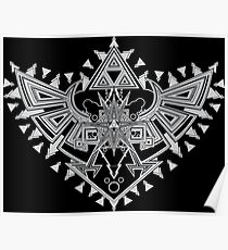 Heart Shield Triforce Silver 2/3 Poster