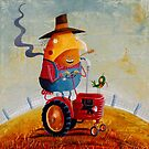 The farmer, his tractor and his flanno by Neil Elliott