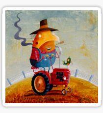 The farmer, his tractor and his flanno Sticker