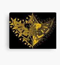 Heart Shield Triforce Gold 1/3 Canvas Print