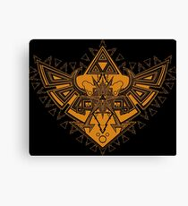 Heart Shield Triforce Bronce Gold 3/3 Canvas Print