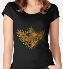 Heart Shield Triforce Bronce Gold 1/2 Women's Fitted Scoop T-Shirt