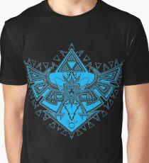 Heart Shield Triforce Cyan 3/3 Graphic T-Shirt