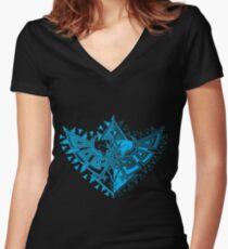 Heart Shield Triforce Cyan 1/3  Women's Fitted V-Neck T-Shirt