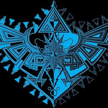 Heart Shield Triforce Cyan 1/3  by ArelArts