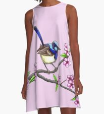 Little Blue Wren A-Line Dress