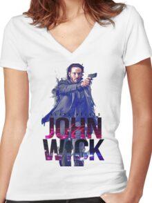 john wick chapter 2 film Women's Fitted V-Neck T-Shirt