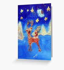 Little Angel on a Reindeer by Marie-Jose Pappas Blue Greeting Card