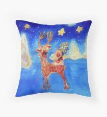 Little Angel on a Reindeer by Marie-Jose Pappas Blue Throw Pillow