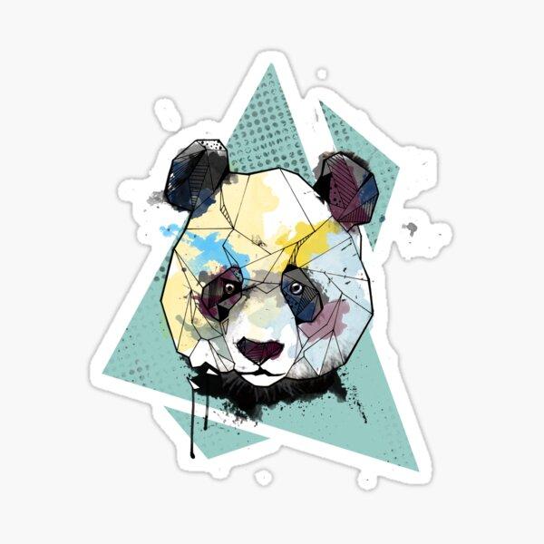 Geometric Watercolor Panda Bear Sticker