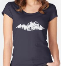 Wheelie in front of mountains Women's Fitted Scoop T-Shirt