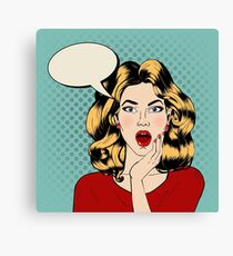 Surprised Woman with Bubble in Pop Art Style Canvas Print