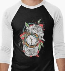 Tattoo Pocket Watch with Peonies Men's Baseball ¾ T-Shirt