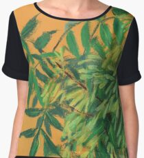 """Ash-tree"", green & yellow, floral art Chiffon Top"