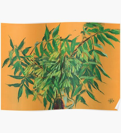"""Ash-tree"", green & yellow, floral art Poster"